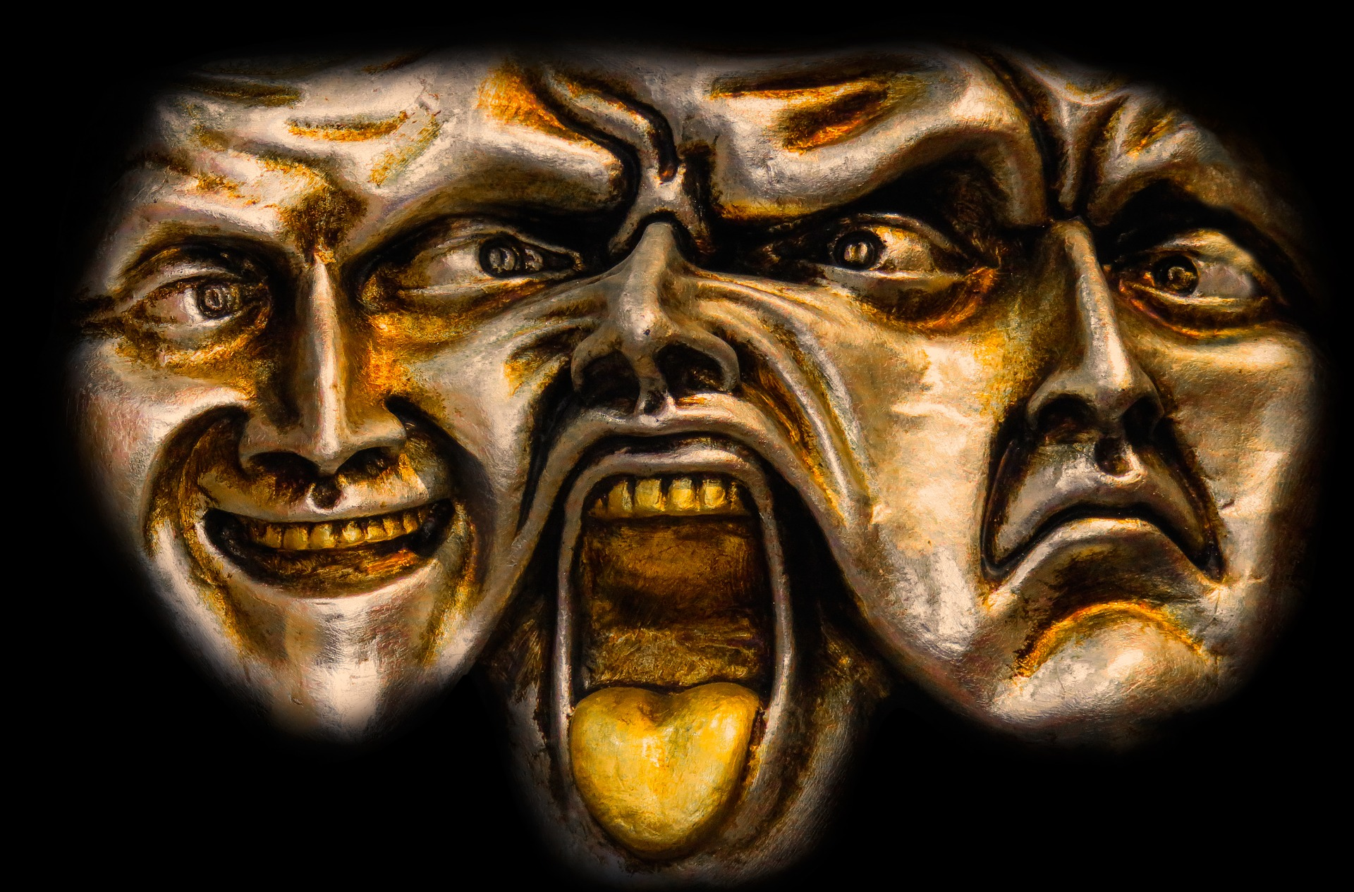 Picture of dramatic emotion masks